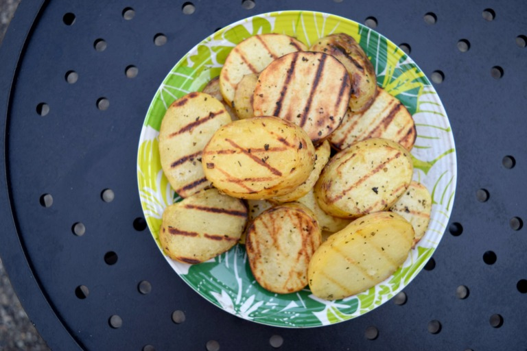 Grilled Potato Rounds with Basil and Garlic