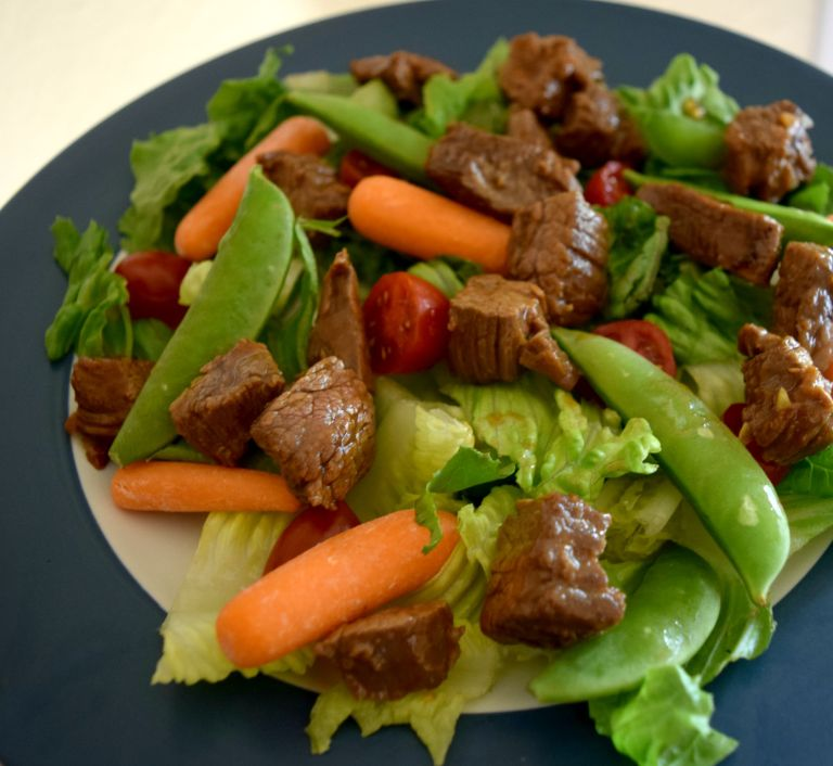 Steak Bites over Salad